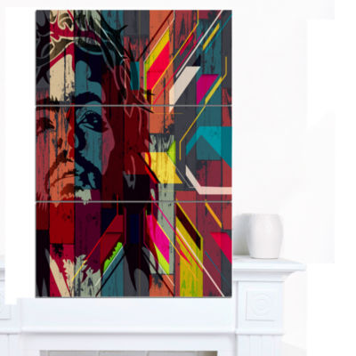 Designart Jesus Over Abstract Wooden Design CanvasArt - 3 Panels