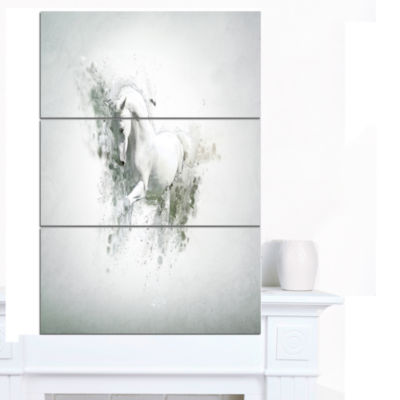 Designart Graceful White Horse Animal Canvas WallArt - 3 Panels