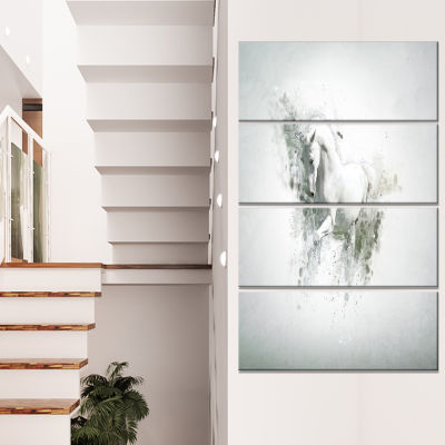 Design Art Graceful White Horse Animal Canvas WallArt - 4 Panels