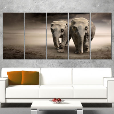 Design Art Elephant Pair In Motion Animal Canvas Wall Art - 5 Panels
