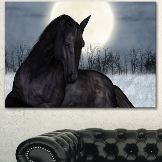 Designart Black Horse In Moonlight Animal Canvas Art Print