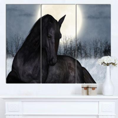 Designart Black Horse In Moonlight Animal Canvas Art Print - 3 Panels