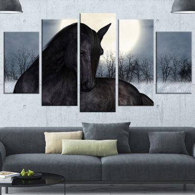 Designart Black Horse In Moonlight Animal Canvas Art Print - 5 Panels