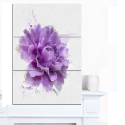 Designart Purple Rose Watercolor Illustration Floral Canvas Art Print - 3 Panels