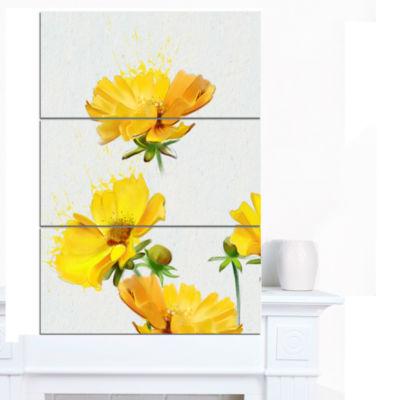 Design Art Beautiful Yellow Flowers On White Canvas Art Print - 3 Panels