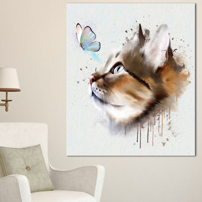 Designart Cat With Butterfly Watercolor Animal Canvas Art Print