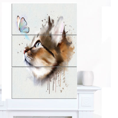 Designart Cat With Butterfly Watercolor Animal Canvas Art Print - 3 Panels