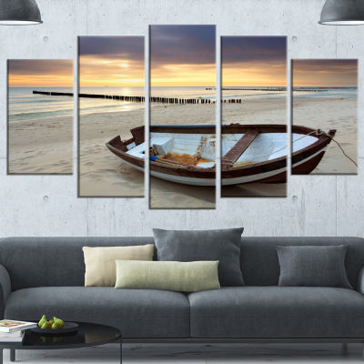 Designart Boat On Beautiful Sunrise Seashore BeachCanvas Wall Art - 5 Panels