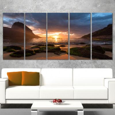 Design Art Beautiful Sunrise In Red Seashore Beach Canvas Wall Art - 5 Panels