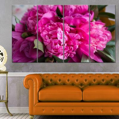 Designart Pink Peonies On Wooden Background FlowerArtwork On Canvas - 4 Panels