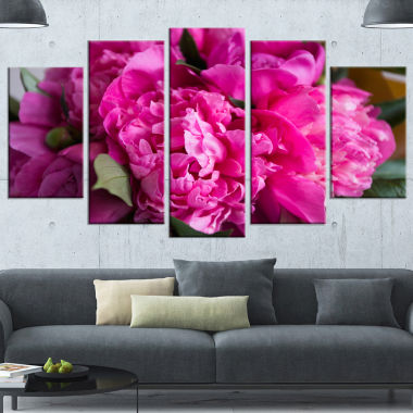 Designart Pink Peonies On Wooden Background FlowerArtwork On Canvas - 5 Panels