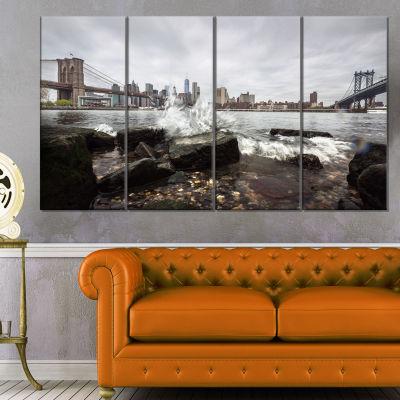 Designart Skyline With Brooklyn Manhattan BridgesCityscape Canvas Art Print - 4 Panels