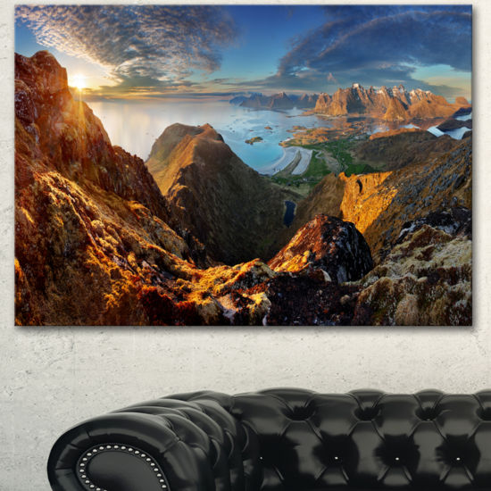 Designart Ocean And Mountains Panorama Landscape Canvas Art