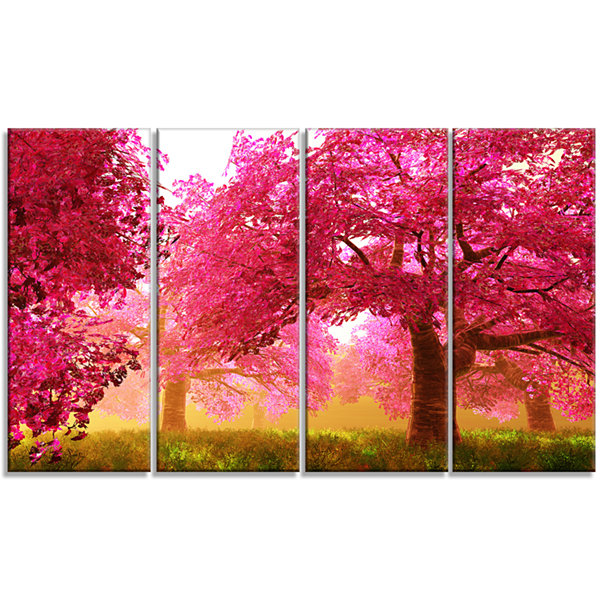 Designart Mysterious Red Cherry Blossoms LandscapeCanvas Art - 4 Panels