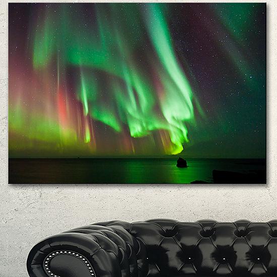 Designart Green Northern Lights Aurora Abstract Canvas Wall Art ...