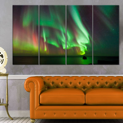 Designart Green Northern Lights Aurora Abstract Canvas Wall Art - 4 Panels
