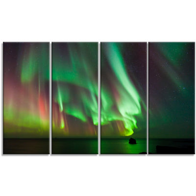 Design Art Green Northern Lights Aurora Abstract Canvas Wall Art - 4 Panels