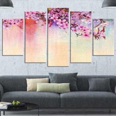 Designart Watercolor Painting Cherry Blossoms Floral Canvas Art Print - 5 Panels