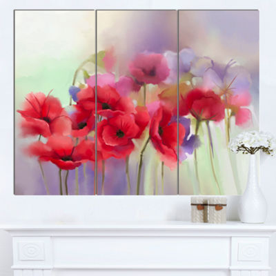 Designart Watercolor Red Poppy Flowers Painting Canvas Artwork - 3 Panels