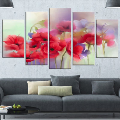 Design Art Watercolor Red Poppy Flowers Painting Canvas Artwork - 5 Panels