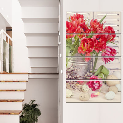 Designart Tulip Flowers And Easter Eggs Canvas ArtPrint - 4 Panels