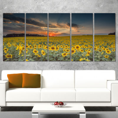 Design Art Sunflower Sunset With Cloudy Sky Landscape Canvas Art - 5 Panels