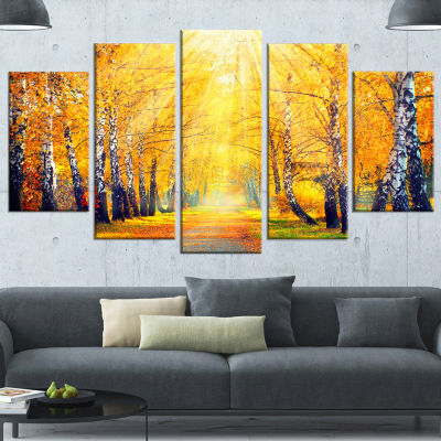 Design Art Yellow Autumn Trees In Sunray Landscape Canvas Art Print - 5 Panels