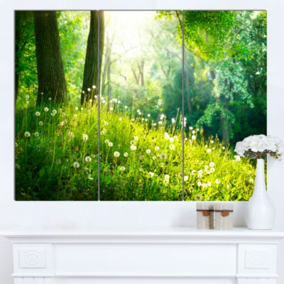 Designart Beautiful Green Grass And Trees Landscape Canvas Art Print - 3 Panels