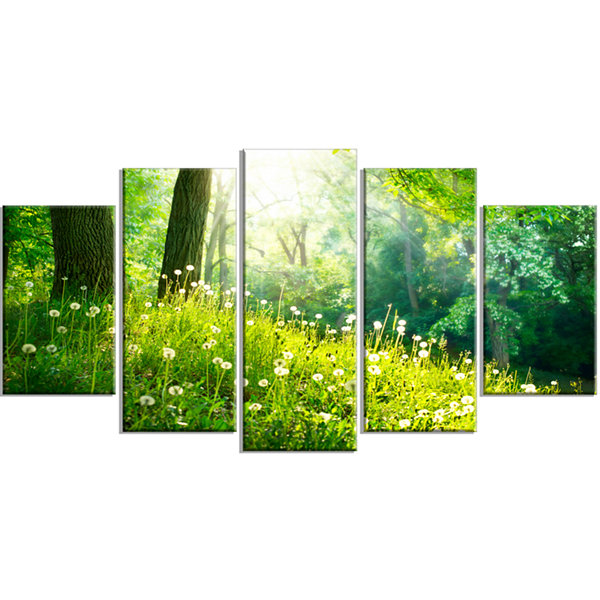 Designart Beautiful Green Grass And Trees Landscape Canvas Art Print - 5 Panels