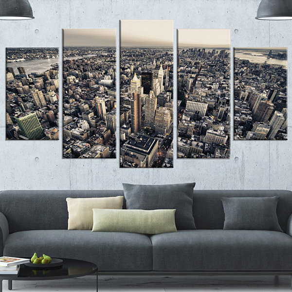 Designart Architecture And Colors Of New York GreyModern Cityscape Canvas Art Print - 5 Panels