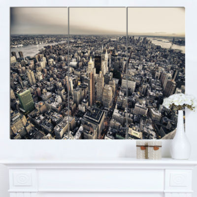 Design Art Architecture And Colors Of New York Modern Cityscape Canvas Art Print - 3 Panels