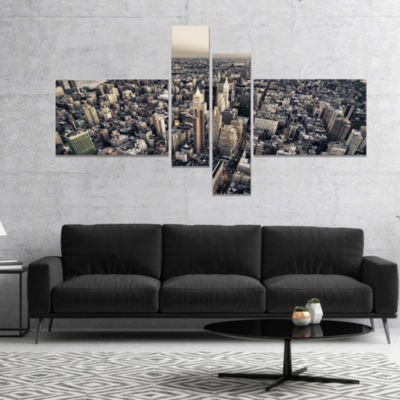 Designart Architecture And Colors Of New York Modern Cityscape Canvas Art Print - 4 Panels