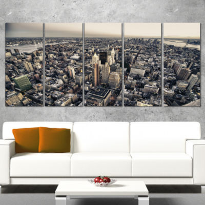 Designart Architecture And Colors Of New York Modern Cityscape Canvas Art Print - 5 Panels