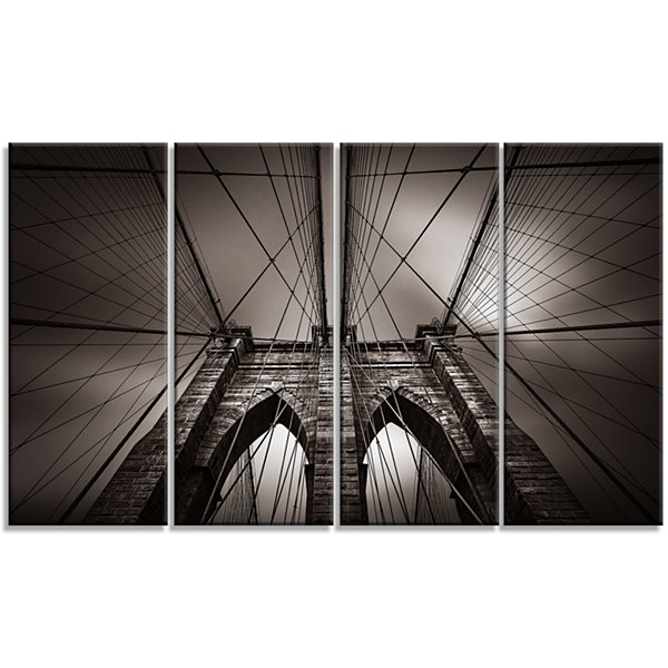 Designart Brooklyn Bridge In NYC USA Canvas Art Print - 4 Panels