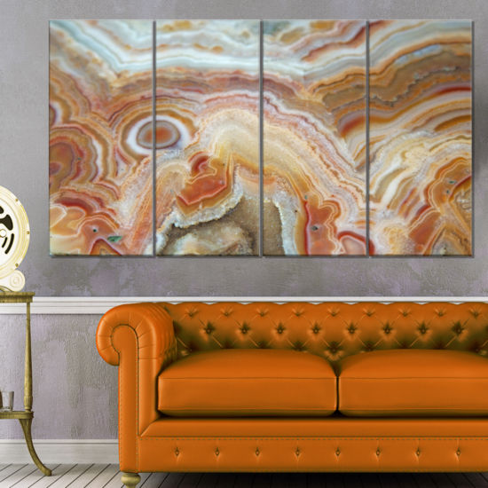 Design Art Strips And Ovals On Agate Abstract Canvas Wall Art Print - 4 Panels
