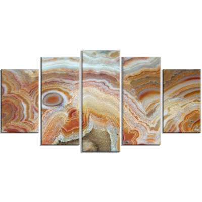Designart Strips And Ovals On Agate Contemporary Canvas Wall Art Print - 5 Panels