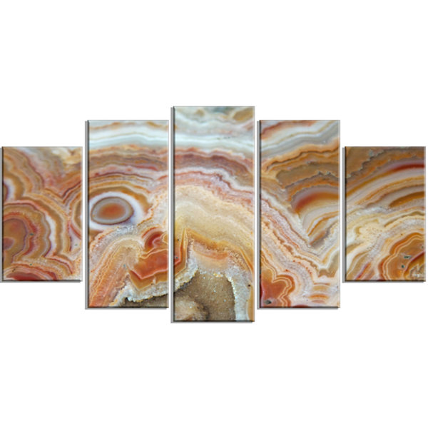 Designart Strips And Ovals On Agate ContemporaryCanvas Wall Art Print - 5 Panels