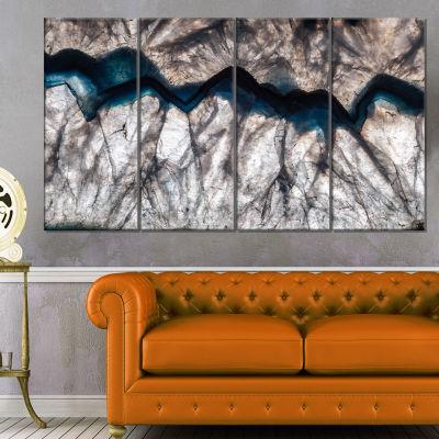 Designart Backlit Mineral Macro Abstract Canvas Wall Art Print - 4 Panels