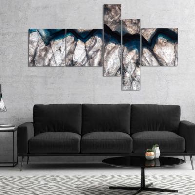 Designart Backlit Mineral Macro Abstract Canvas Wall Art Print - 5 Panels