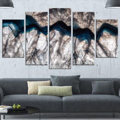 Design Art Backlit Mineral Macro Blue Abstract Canvas Wall Art Print - 5 Panels