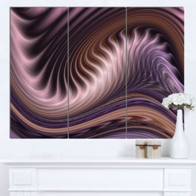 Design Art Purple Waves Fractal Abstract Canvas Wall Art Print - 3 Panels
