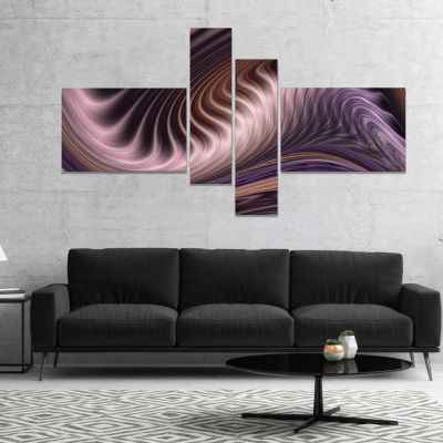 Design Art Purple Waves Fractal Abstract Canvas Wall Art Print - 4 Panels