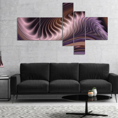 Designart Purple Waves Fractal Abstract Canvas Wall Art Print - 5 Panels