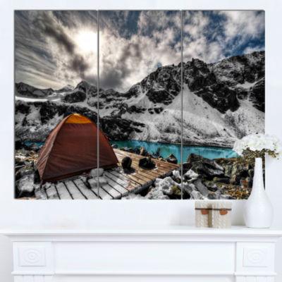 Design Art Campsite Above Turquoise Lake Landscape Canvas Art Print - 3 Panels