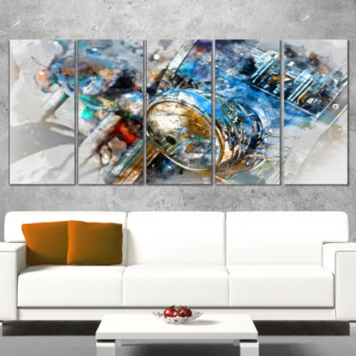 Designart Motorcycle Headlight Watercolor Contemporary Canvas Art Print - 5 Panels