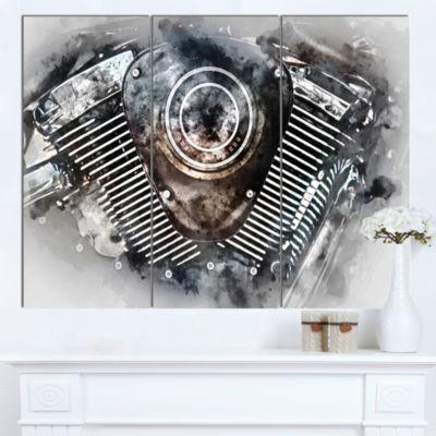 Design Art Motorcycle Engine Watercolor Contemporary Canvas Art Print - 3 Panels
