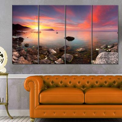 Design Art Colorful Summer Seascape Canvas Art Print - 4 Panels