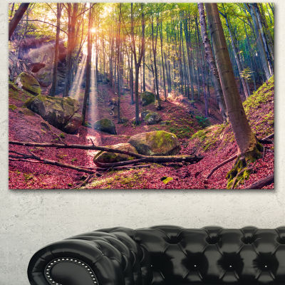 Design Art Autumn Morning In Mystical Woods Landscape Canvas Art Print