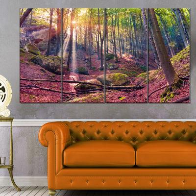 Designart Autumn Morning In Mystical Woods Landscape Canvas Art Print - 4 Panels