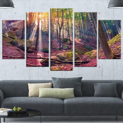 Designart Autumn Morning In Mystical Woods Landscape Canvas Art Print - 5 Panels